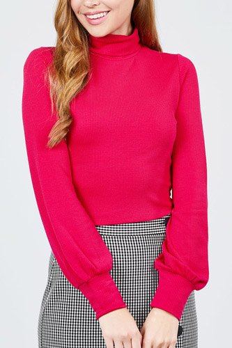 Long sleeve turtle neck rib knit top-id.cc39436