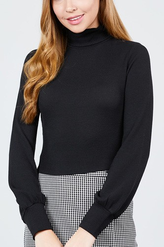 Long sleeve turtle neck rib knit top-id.cc39436a