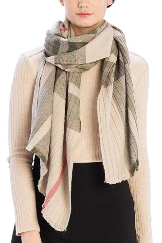Pleated plaid pattern scarf-id.cc39448