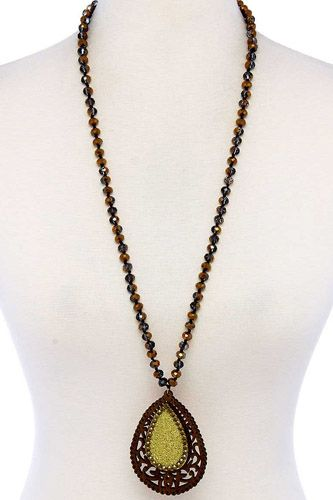 Designer tear drop double layer pendant necklace-id.cc39453