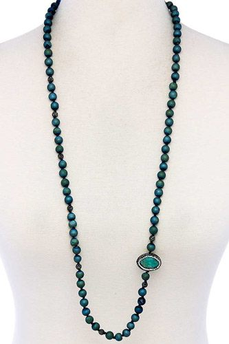 Multi beaded and stone long necklace-id.cc39458