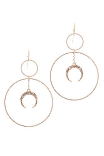 Double circle crescent moon charm dangle drop earring-id.cc39470