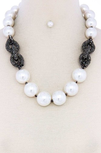 Chic large pearl bead necklace and earring set-id.cc39487