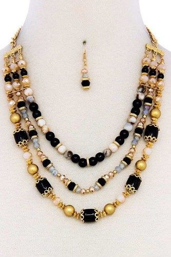 Multi beaded three layer necklace and earring set-id.cc39488