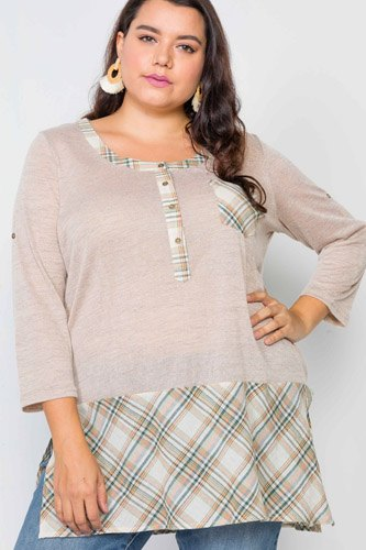 Plus size plaid combo plus size top-id.cc39491a