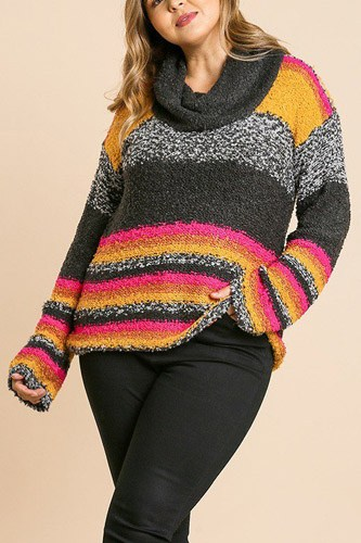Multicolor striped fuzzy knit long sleeve pullover-id.cc39508