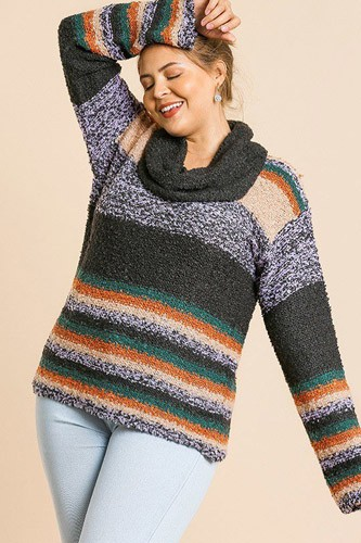 Multicolor striped fuzzy knit long sleeve pullover-id.cc39508a