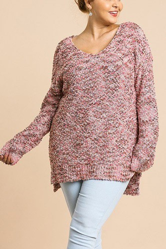 Multicolor long sleeve v-neck soft knit pullover tunic sweater-id.cc39509
