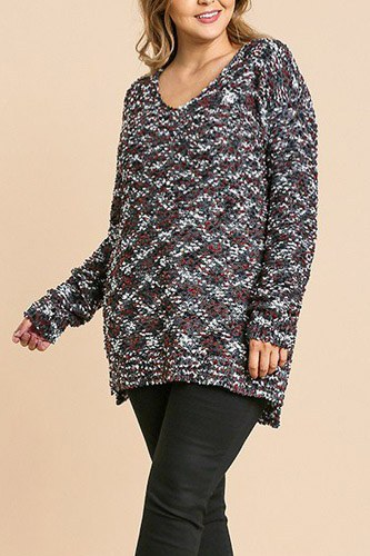 Multicolor long sleeve v-neck soft knit pullover tunic sweater-id.cc39509a