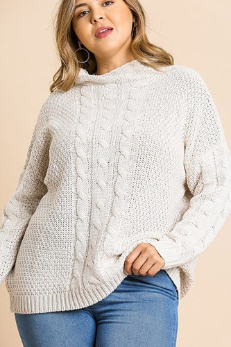 Long sleeve cable knit mock neck pullover sweater-id.cc39510