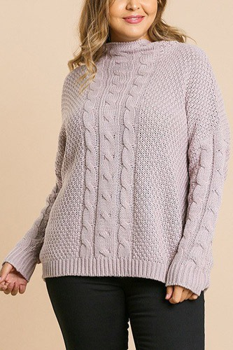 Long sleeve cable knit mock neck pullover sweater-id.cc39510a