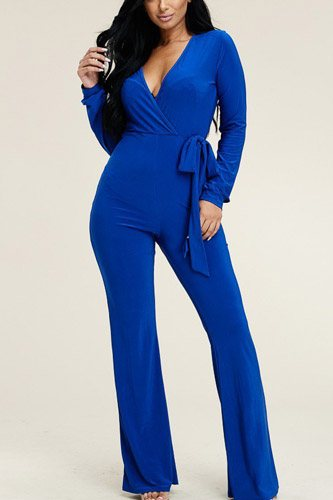 Solid long sleeve wide leg jumpsuit with tie waist-id.cc39513