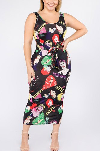 Plus size multi color sleeveless midi dress with waist tie-id.cc39515