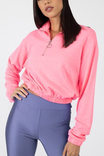 Cropped half zip pullover-id.cc39525