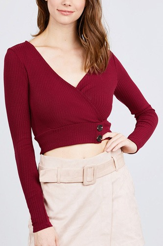Long sleeve surplice neck line button detail rib knit top-id.cc39529