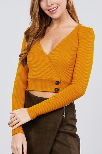 Long sleeve surplice neck line button detail rib knit top-id.cc39529a
