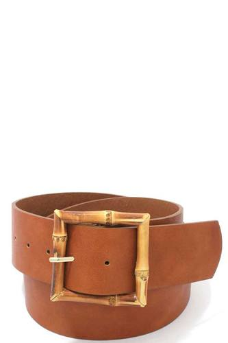 Bamboo buckle pu leather belt-id.cc39535