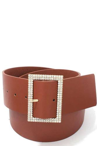 Rhinestone buckle pu leather belt-id.cc39536