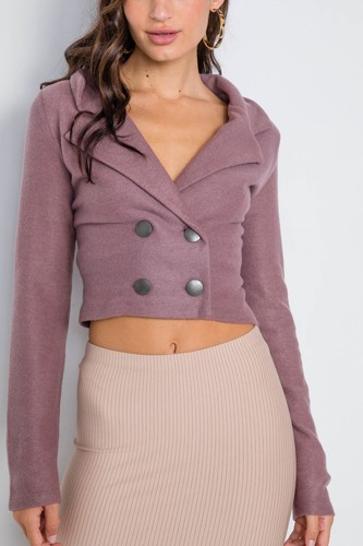 Double breasted pea coat crop jacket-id.cc39561a