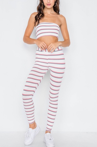 Multi stripe ribbed crop tube top & ankle legging set-id.cc39563a