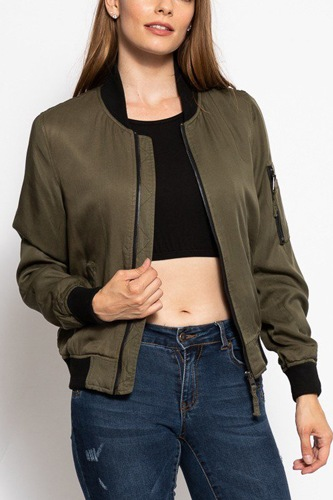 Classic olive green bomber jacket-id.cc39571