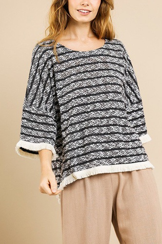 Heathered striped knit bell sleeve round neck top-id.cc39576