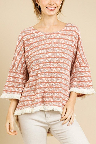Heathered striped knit bell sleeve round neck top-id.cc39576a