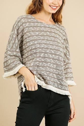 Heathered striped knit bell sleeve round neck top-id.cc39576b