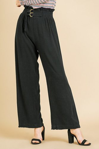 Linen blend high waist paperbag wide leg pant-id.cc39580