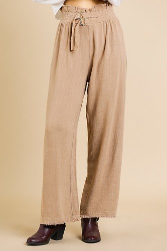 Linen blend high waist paperbag wide leg pant-id.cc39580a