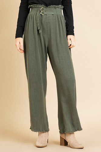 Linen blend high waist paperbag wide leg pant-id.cc39580b