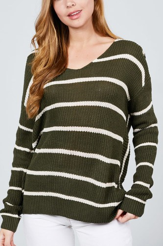 Long sleeve v-neck twist back stripe sweater top-id.cc39595a