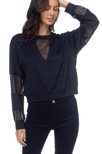 Mesh long sleeve pullover sweater-id.cc39598