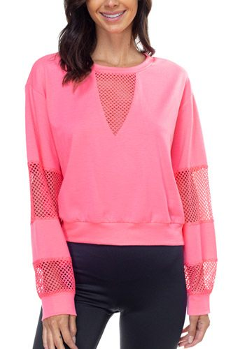 Mesh long sleeve pullover sweater-id.cc39598b
