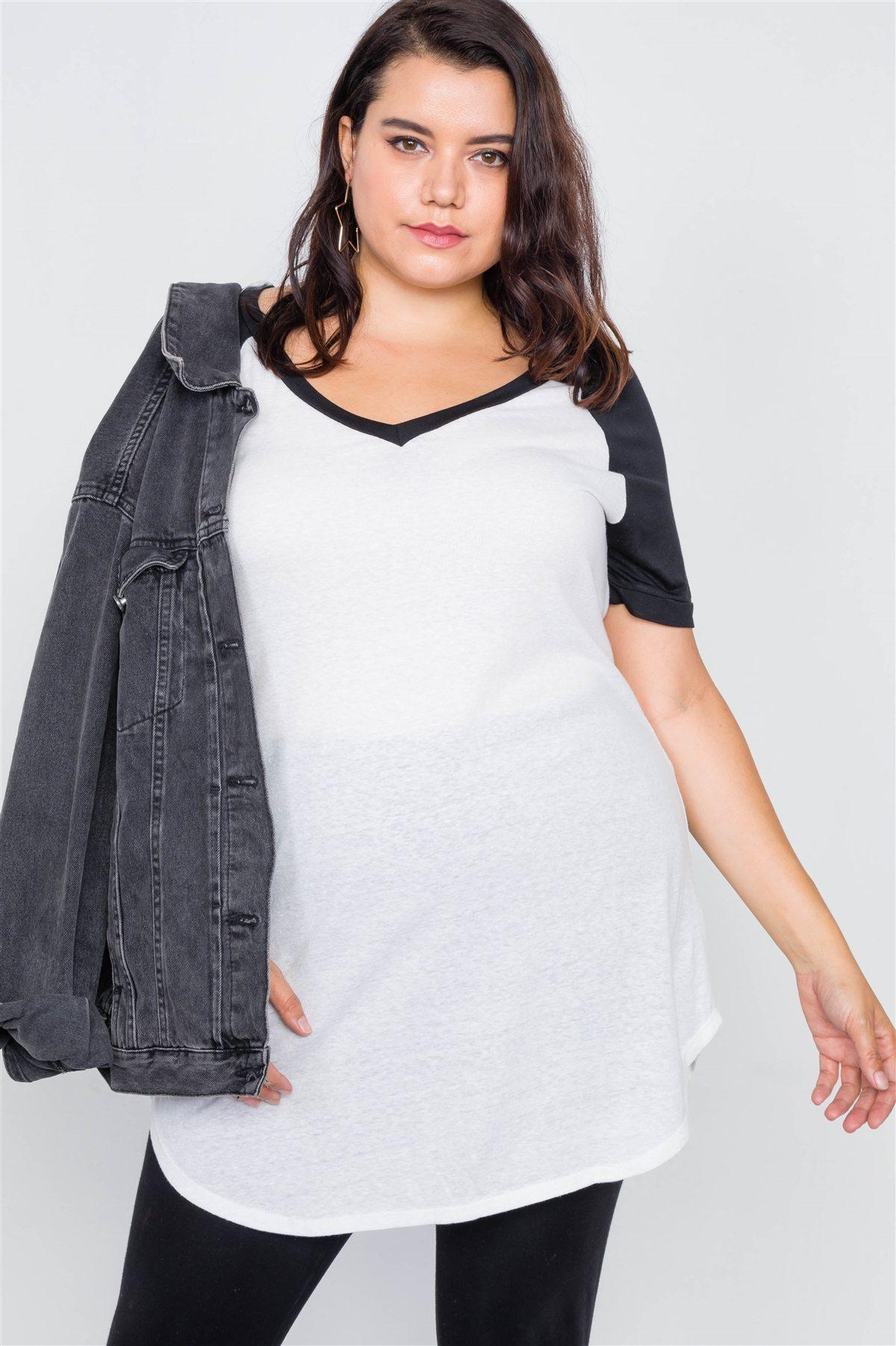 Plus size washed round hem shirt dress-id.cc39620b
