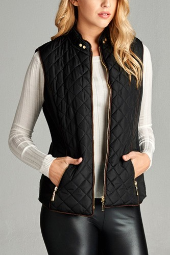 Faux shearling lined quilted padding vest-id.cc39627