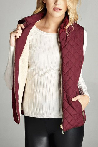 Faux shearling lined quilted padding vest-id.cc39627a