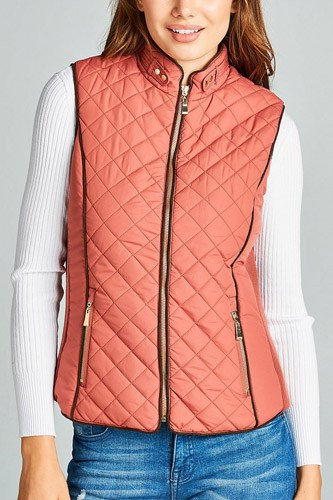 Faux shearling lined quilted padding vest-id.cc39627d