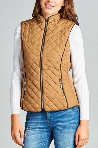 Faux shearling lined quilted padding vest-id.cc39627e