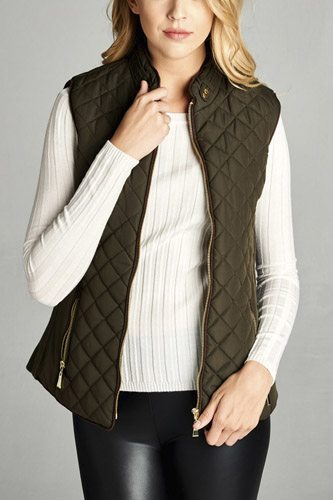 Faux shearling lined quilted padding vest-id.cc39627f
