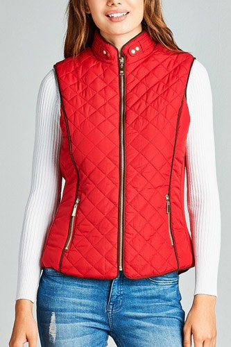 Faux shearling lined quilted padding vest-id.cc39627g