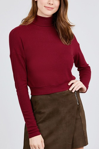 Long dolman sleeve turtle neck rib knit top-id.cc39630