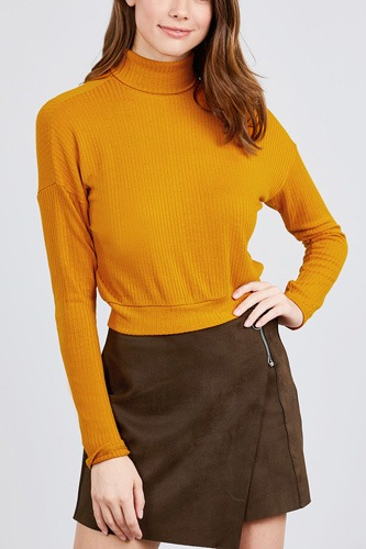 Long dolman sleeve turtle neck rib knit top-id.cc39630a