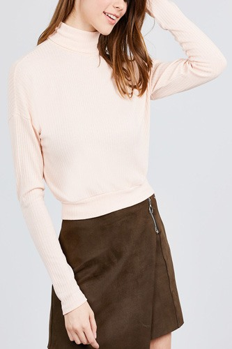 Long dolman sleeve turtle neck rib knit top-id.cc39630c