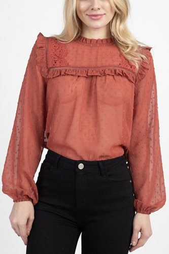 Sheer swiss dot ruffle top-id.cc39634b