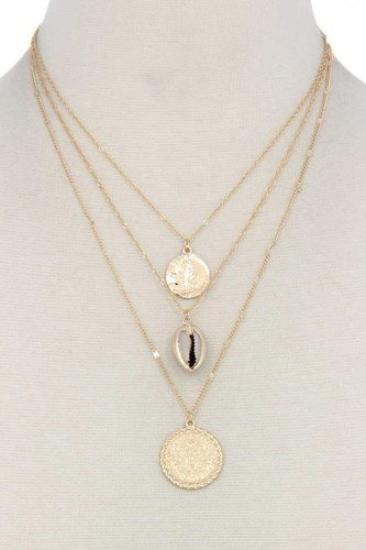 Seashell coin charm layered necklace-id.cc39642