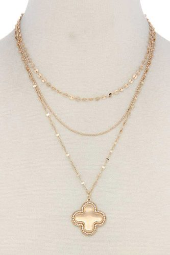 Moroccan shape pendant layered necklace-id.cc39644