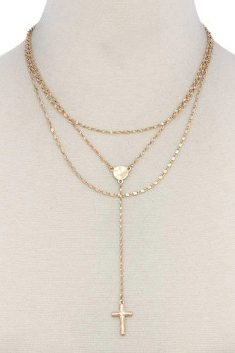 Cross charm y shape layer necklace-id.cc39645