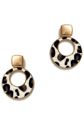 Cute chic leopard fur circle drop earring-id.cc39646