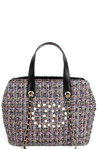 Chic rough fabric woven satchel with linked chain-id.cc39659